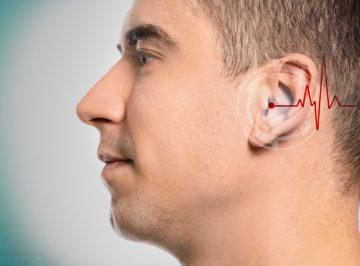 man testing hearing